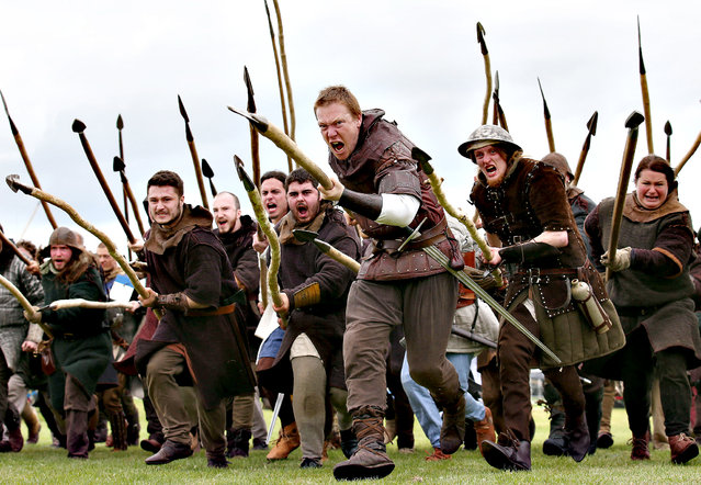 Robert The Bruce's army from The Clanranald Trust during a rehearsal for the Battle of Bannockburn re-enactment performance which will be staged at the Bannockburn Live Event in Bannockburn, the 700th anniversary of the battle, on June 27, 2014. (Photo by Andrew Milligan/PA Wire)