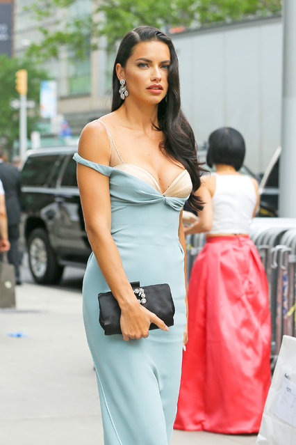 Adriana Lima spotted looking radiant while arriving at The 2016 Fragrance Foundation Awards in New York City on June 7, 2016. (Photo by Felipe Ramales/Splash News)