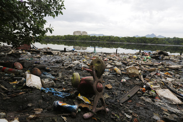 Rubbish covers the banks of Cunha channel, which flows into Guanabara Bay, during a press tour in Rio de Janeiro, March 10, 2015. (Photo by Ricardo Moraes/Reuters)