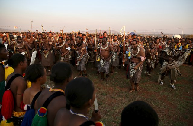 Swaziland's King Mswati III (3rd R) dance infront of Maidens during the last day of the Reed Dance at Ludzidzini Royal Palace in Swaziland, August 31, 2015. (Photo by Siphiwe Sibeko/Reuters)