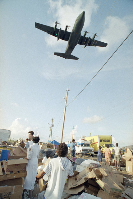 A U.S. Air Force C-130 flies low over a tent city for hurricane homeless in south Dade County, Fla., attacking swarms of mosquitoes with the insecticide dibrom, September 8, 1992.  The state asked the Air Force for assistance in controlling the pests. (Photo by Dave Bergman/AP Photo)