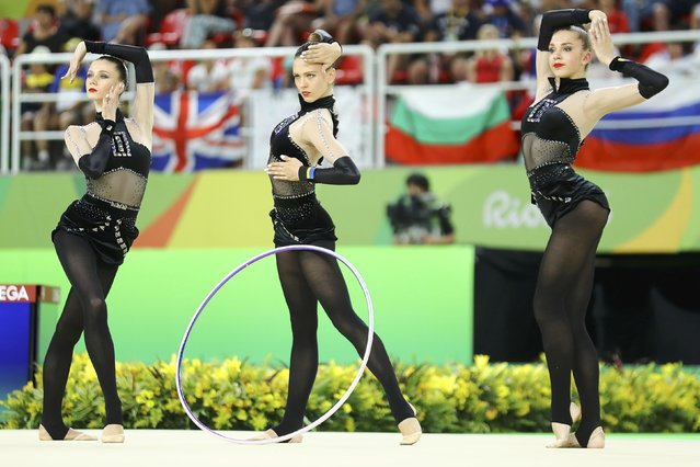 2016 Rio Olympics, Rhythmic Gymnastics, Preliminary, Group All-Around Qualification, Rotation 1, Rio Olympic Arena, Rio de Janeiro, Brazil on August 20, 2016. Team Ukraine (UKR) compete using clubs and hoops. (Photo by Mike Blake/Reuters)