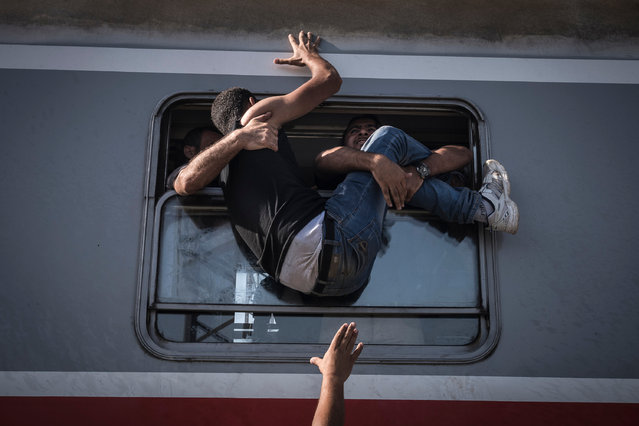 Refugees attempt to board a train towards Zagreb at Tovarnik station on the border with Serbia. (Photo by Sergey Ponomarev/Getty Images)