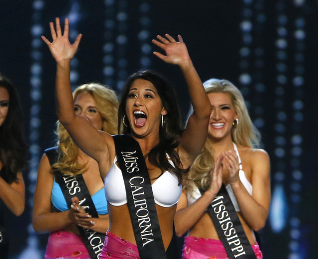 Miss California Jessa Carmack reacts to being named a finalist in the talent competition during the Miss America 2017 pageant, Sunday, September 11, 2016, in Atlantic City, N.J. (Photo by Noah K. Murray/AP Photo)