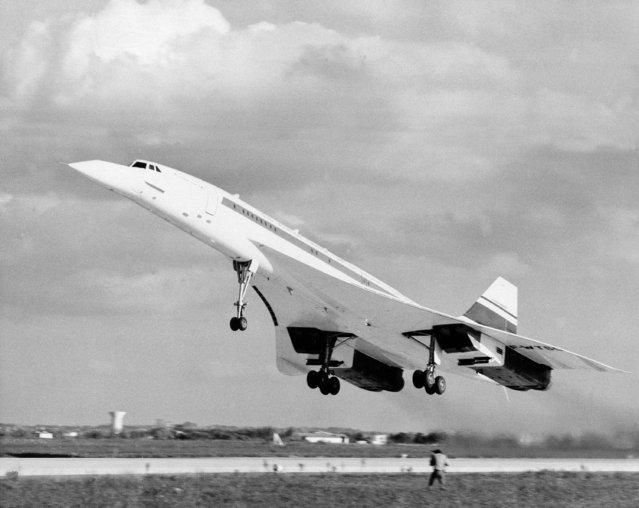 Concorde 001, the first prototype, takes off on a test flight from Toulouse, France, on December 30, 1969.  In the flight test program to date, 001 has flown at speeds up to Mach 1.53 and at altitudes up to 47,000 feet. (Photo by AP Photo)