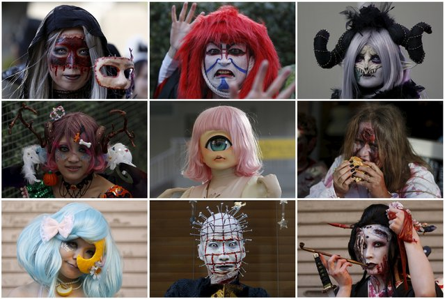 A combination picture shows participants in costume at a Halloween parade in Kawasaki, south of Tokyo, October 25, 2015. More than 100,000 spectators turned up to watch the parade, where 2,500 participants dressed up in costumes, according to the organiser. (Photo by Yuya Shino/Reuters)
