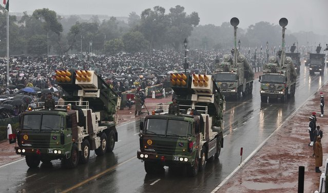 Indian Army's Pinaka multi barrel rocket launcher systems are displayed during the Republic Day parade in New Delhi January 26, 2015. (Photo by Adnan Abidi/Reuters)