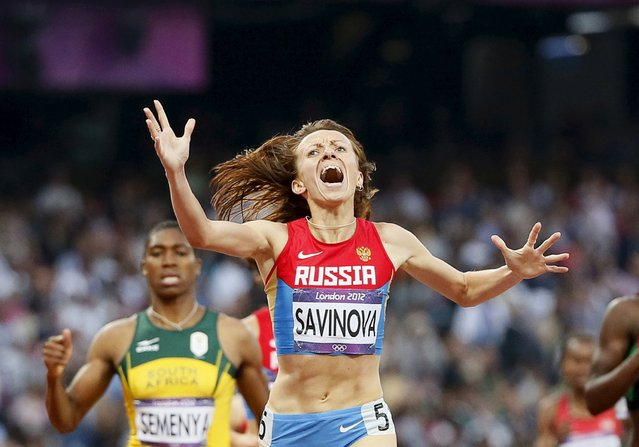The World Anti-Doping Agency commission in November alleged that Russian athletes have systematically used performance-enhancing substances and recommended Russia be suspended from international competition. If endorsed by the International Athletics Federation (IAAF), the proposal could see Russian athletes excluded from next year's Olympic games in Brazil. Pictured: Russia's Mariya Savinova winning the 800m final at the London 2012 Olympic Games, August 11, 2015. (Photo by Lucy Nicholson/Reuters)