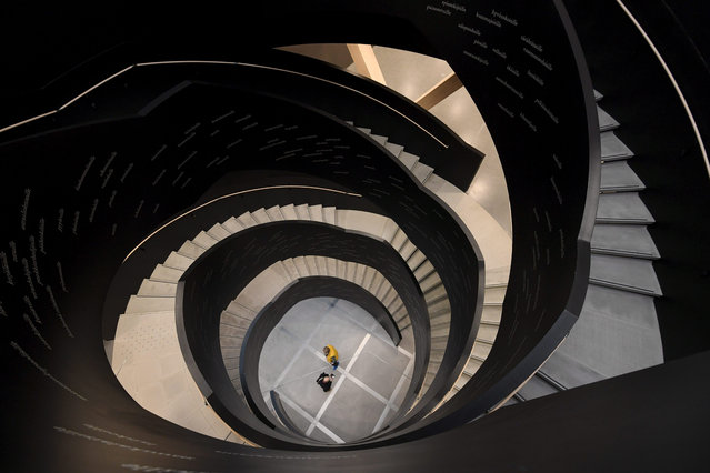 A staircase of Helsinki's new Central Library Oodi is seen during a preview on November 30, 2018 in Helsinki, Finland. The new library will open its doors to the public on December 5, 2018, a day before Finland's 101st birthday. (Photo by Markku Ulander/Lehtikuva via AFP Photo)