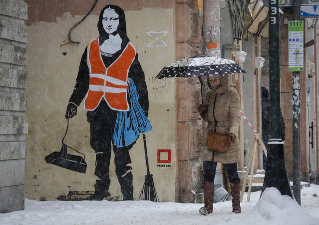 A woman walks past a graffiti depicting a janitor with the head of Leonardo da Vinci's Mona Lisa during a snowfall in St.Petersburg, Russia, Tuesday, January 26, 2016. (Photo by Dmitry Lovetsky/AP Photo)