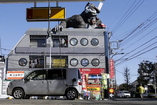 A gorilla statue is seen on top of a building in front of a Shell gas station in Tokyo, Japan in this January 9, 2015 file photo. Royal Dutch Shell is expected to report Q4 and full-year results this week. (Photo by Toru Hanai/Reuters)