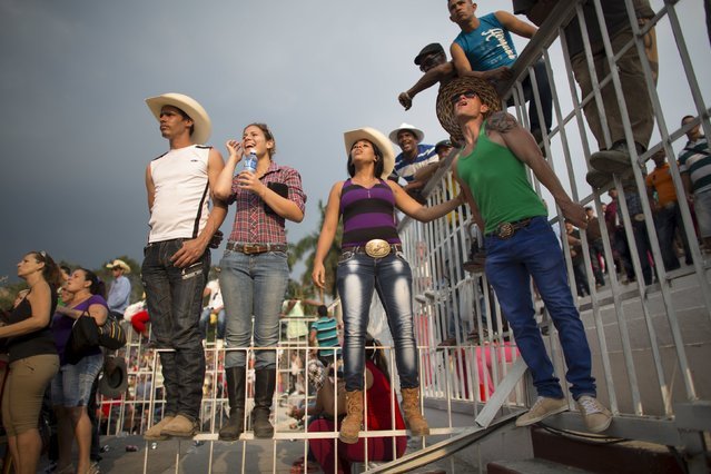 People react as they watch a rodeo show at the International Livestock Fair in Havana March 21, 2015. (Photo by Alexandre Meneghini/Reuters)