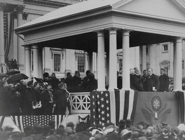 Chief Justice Melville W. Fuller administers the Oath of Office to President William McKinley to begin his second term in Washington, D.C., U.S. March, 1901. McKinley died 194 days into the term and was succeeded by Vice President Theodore Roosevelt. (Photo by Reuters/Library of Congress)