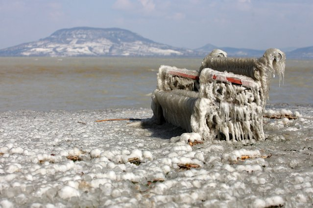 A view of an ice-covered bench on the shores of Lake Balaton in Balatonfenyves, 155 kms southwest of Budapest, Hungary, 16 March 2013, after water blown by high winds froze in subzero temperatures. (Photo by Gyorgy Varga/EPA)