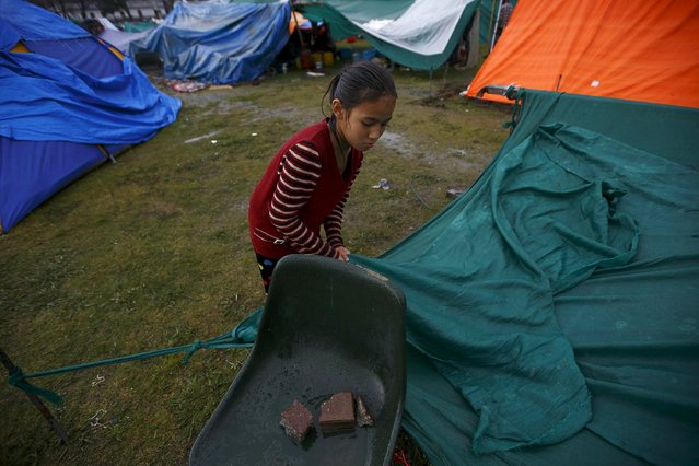 A girl stands in the rain as she fixes her makeshift shelter after the earthquake in Kathmandu, Nepal April 28, 2015. (Photo by Navesh Chitrakar/Reuters)