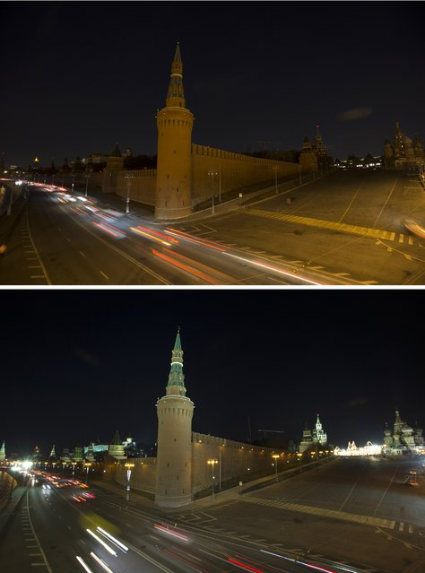 This two photo combination picture shows after and before lighting is switched off to mark Earth Hour, with the Kremlin, left, and st. Basil Cathedral, right, on Red Square in Moscow, Russia, Saturday, March 19, 2016. (Photo by Alexander ZemlianichenkoAP Photo)