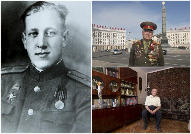 World War Two veteran Nikolay Mazanik, 92, is seen in an undated handout picture (L), posing for a picture in Victory square in Minsk (Top R) and at home in Belarus April 10, 2015. Mazanik started the war as a commander of a rifle platoon in an infantry company of the Soviet Union army from June 1941 until May 1945. Originally from Belarus, the end of World War Two found him in the city of Koenigsberg, Germany. (Photo by Vasily Fedosenko/Reuters/Family handout (L))