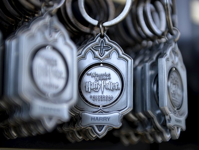 """Key rings are on display for purchase outside Hogwarts School during a soft opening and media tour of """"The Wizarding World of Harry Potter"""" theme park at the Universal Studios Hollywood in Los Angeles, California in this picture taken March 22, 2016. (Photo by Kevork Djansezian/Reuters)"""