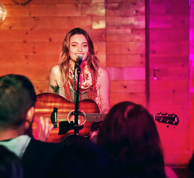 """Paris Jackson and boyfriend Gabriel Glenn did a performance with their band """"The SoundFlowers"""" at """"Davey Waynes"""" In Hollywood, CA. on May 23, 2019. The duo and couple sang for about 45 mins and sang songs they wrote together. (Photo by Splash News and Pictures)"""