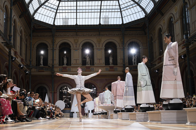 A model walks the runway during the Thom Browne Menswear Spring Summer 2020 show as part of Paris Fashion Week on June 22, 2019 in Paris, France. (Photo by Peter White/Getty Images)