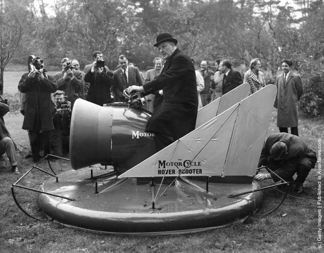 1960: Lord Brabazon, the pioneer British aviator, demonstrates the hover scooter at Long Ditton in Surrey