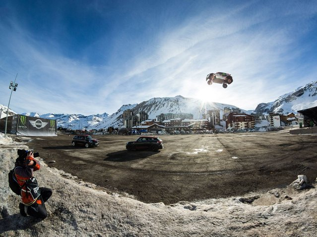 Guerlain Chicherit attempts the World Record for the Longest Car Jump, during which he crashed his car in Tignes, France. (Photo by Richard Bord/Getty Images)
