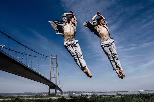 Ballet dancer twins Laurie McSherry-Gray and Joshua (right) at the Humber Bridge, near their hometown of Hull, England on April 20, 2019. (Photo by Andy Weekes/Shutterstock)