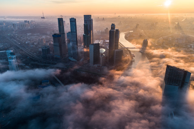 Towers of the Moscow International Business Centre shrouded in mist in Moscow, Russia on April 11, 2019. (Photo by Dmitry Serebryakov/TASS)