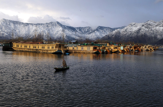 A Kashmiri man rows his boat in the waters of the Dal Lake on a cold winter evening in Srinagar February 5, 2013. (Photo by Danish Ismail/Reuters)
