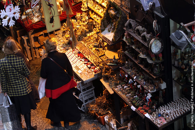 Via San Gregorio Armeno in Naples, Italy. Via San Gregorio Armeno, Christmas Alley, is the undisputed world capital of the Nativity and home to the artisans and merchants who specialize in the art and the craft of the Neapolitan Presepe