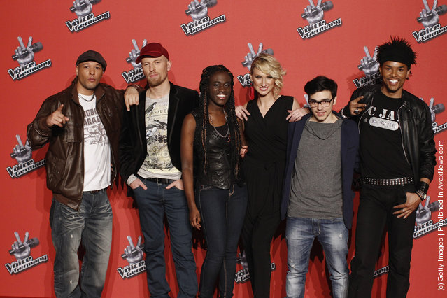 Talents Bennie McMillan, Ole, Ivy Quainoo, Ramona Nerra, Sahar Haluzy and C.Jay pose during a photocall to the TV show The Voice of Germany