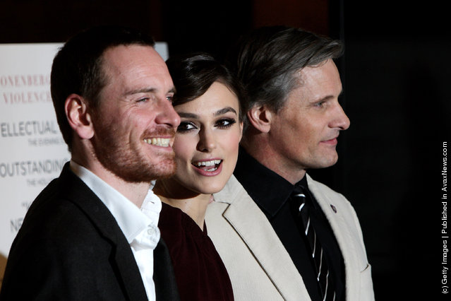 Michael Fassbender, Keira Knightley and Viggo Mortensen attend the UK gala premiere of 'A Dangerous Method' at The Mayfair Hotel