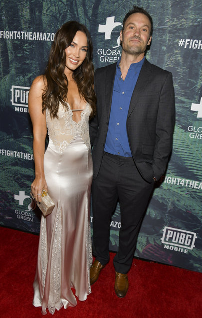 Megan Fox (L) and Brian Austin Green attend the PUBG Mobile's #FIGHT4THEAMAZON Event at Avalon Hollywood on December 09, 2019 in Los Angeles, California. (Photo by Rodin Eckenroth/Getty Images)