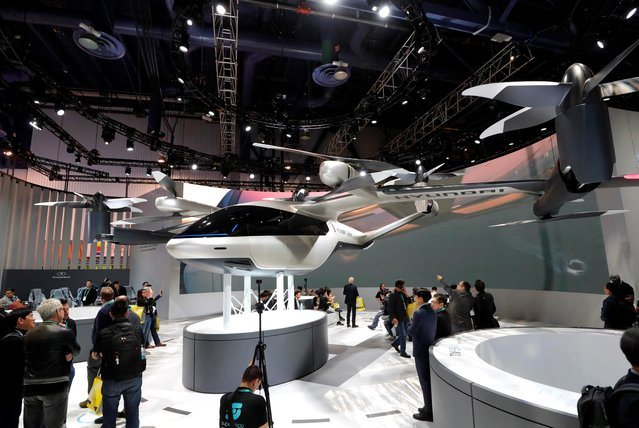 The S-A1, an electric flying taxi developed with Uber, is displayed in the Hyundai booth during the 2020 CES in Las Vegas, Nevada, U.S. January 7, 2020. (Photo by Steve Marcus/Reuters)