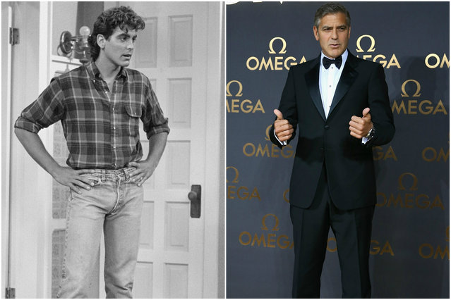 George Clooney circa 1986 and today. (Photo by Everett Collection/Getty Images)
