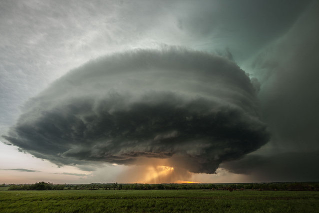 The rotating updraft base of a supercell thunderstorm, and a rear flank downdraft containing rain and hail, backlit by the setting sun, on May 10, 2014, in Climax, Kansas, United States. To most of us, dark clouds on the horizon usually means rain – but here in Kansas, they can also signal the start of a supercell. (Photo by Stephen Locke/Barcroft Media)