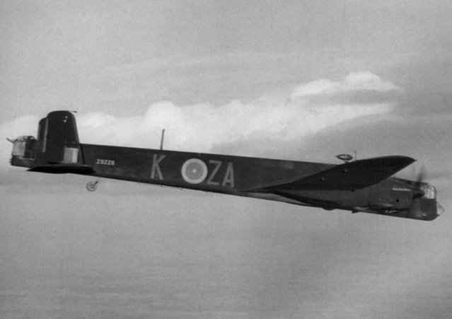 The Whitley heavy bomber, seen on it, way to raid enemy territory, June 2, 1942, is powered with twin Rolls-Royce Merlin engines, which attain a speed of 245 m.p.h. It has a range of approximately 1800 miles and a ceiling, service, of 23,000 feet. The undercarriage is retractable on the Whitley; wing span is 84 feet, length 69 feet, 3 inches. It carries a crew of five. The formidable defensive armament, housed in power-operated turrets in the nose and tail, is composed of one forward gun and four rear guns. (Photo by AP Photo)