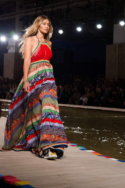 Gigi Hadid walks in the Tommy Hilfiger Spring/Summer 2016 show during Fashion Week on Monday, September 14, 2015 in New York. (Photo by Charles Sykes/Invision/AP Photo)