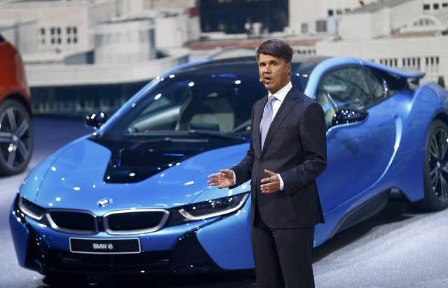 BMW CEO Harald Krueger makes a presentation during the media day at the Frankfurt Motor Show (IAA) in Frankfurt, Germany, September 15, 2015. (Photo by Kai Pfaffenbach/Reuters)