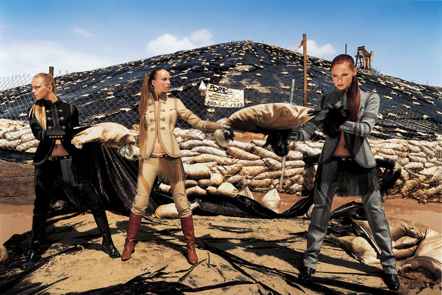 LaChapelle's Disaster series shot models against backdrops of sandbags and ruined houses, as a response to climate change. Here: David LaChapelle – October 2005. (Photo by David LaChapelle/The Guardian)