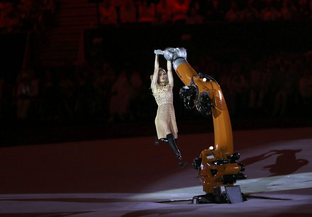 2016 Rio Paralympics, Opening ceremony, Maracana, Rio de Janeiro, Brazil on September 7, 2016. Amy Purdy interacts with a robotic arm during the opening ceremony. (Photo by Ueslei Marcelino/Reuters)