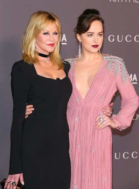Melanie Griffith and Dakota Johnson attend the 2017 LACMA Art + Film Gala Honoring Mark Bradford and George Lucas presented by Gucci at LACMA on November 4, 2017 in Los Angeles, California. (Photo by JB Lacroix/ WireImage)