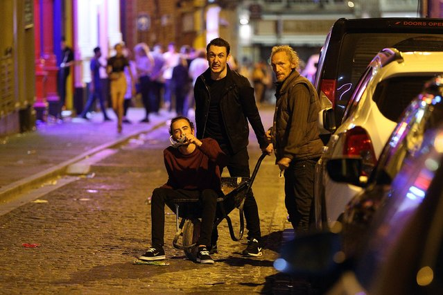Some freshers found a new way to travel around the streets of Liverpool, United Kingdom on September 21, 2016. (Photo by Paul Jacobs/FameFlynet UK)