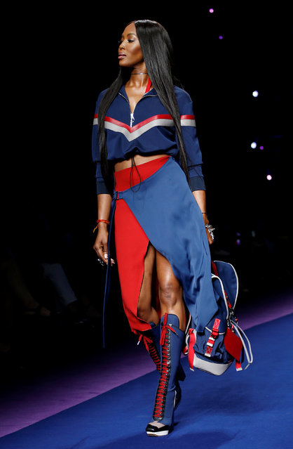 Supermodel Naomi Campbell presents a creation at the Versace fashion show during Milan Fashion Week Spring/Summer 2017 in Milan, Italy, September 23, 2016. (Photo by Alessandro Garofalo/Reuters)