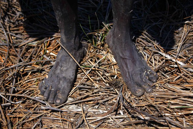 """The bare feet of Australian Aboriginal hunter Robert Gaykamangu of the Yolngu people can be seen as he stands next to a billabong near the """"out station"""" of Ngangalala, on the outksirts of the community of Ramingining in East Arnhem Land November 23, 2014. (Photo by David Gray/Reuters)"""