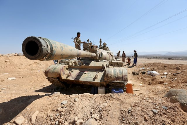 A tank used by fighters loyal to Yemen's government is pictured at the frontline of the fighting against Houthi rebels in Yemen's northern province of Marib November 8, 2015. (Photo by Reuters/Stringer)