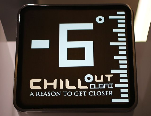 A display shows the temperature at Chillout cafe in Dubai May 12, 2013. (Photo by Ahmed Jadallah/Reuters)