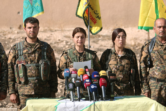Syrian Democratic Forces (SDF) commanders attend a news conference in Ain Issa, Raqqa Governorate, Syria November 6, 2016. (Photo by Rodi Said/Reuters)