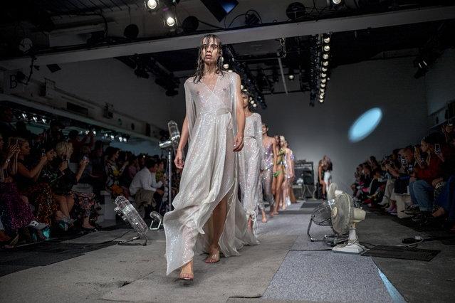 Models present creations by Ashish at the London Fashion Week, in London, Britain, 16 September 2018. (Photo by Tolga Akmen/EPA/EFE)