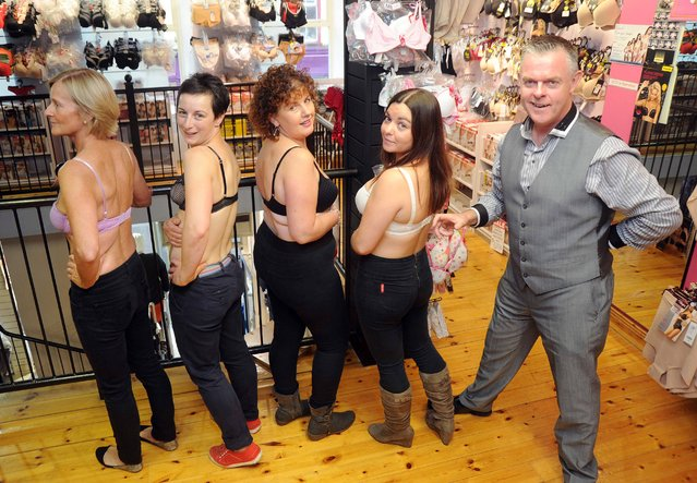 Sean Murray of Sean Murray Fashions, Skibbereen, who will attempt to make the record books for unclasping as many bras as possible in one minute in the shop on October 26th. in aid of the Irish Cancer Society Get The Girls fundraising campaign, photographed at the announcement with (from left) Marian Nealon,  Siobhan O'Callaghan, Finola Byrne and Michelle Donelan. (Photo by Denis Minihane)